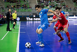 Albert Akbalikov of Kazakhstan and Artem Niyazov of Russia during futsal match between National teams of Kazakhstan and Russia at Day 5 of UEFA Futsal EURO 2018, on February 3, 2018 in Arena Stozice, Ljubljana, Slovenia. Photo by Urban Urbanc / Sportida