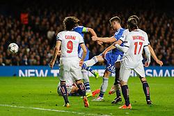 Chelsea Defender Gary Cahill (ENG) shoots - Photo mandatory by-line: Rogan Thomson/JMP - 07966 386802 - 08/04/2014 - SPORT - FOOTBALL - Stamford Bridge, London - Chelsea v Paris Saint-Germain - UEFA Champions League Quarter-Final Second Leg.