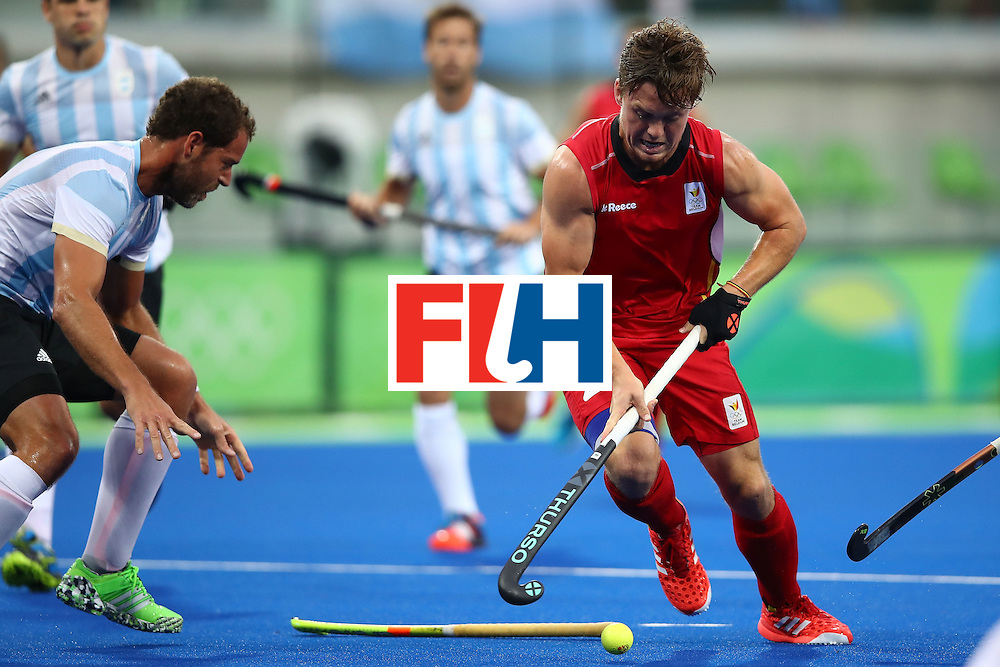 RIO DE JANEIRO, BRAZIL - AUGUST 18:  Tom Boon #27 of Belgium in action during the Men's Hockey Gold Medal match between Belgium and Argentina on Day 13 of the Rio 2016 Olympic Games at Olympic Hockey Centre on August 18, 2016 in Rio de Janeiro, Brazil.  (Photo by Clive Brunskill/Getty Images)