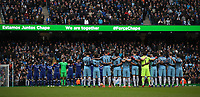 Football - 2016 / 2017 Premier League - Manchester City vs. Chelsea<br /> <br /> Chelsea and Manchester City take part in a minutes silence before the match at The Ethiad.<br /> <br /> COLORSPORT/LYNNE CAMERON