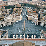 A Panoramic view of St.Peter's Square from the top of St. Peter's Basilica, Vatican City, Rome, Italy. 23rd July 2011. Photo Tim Clayton