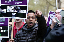© Licensed to London News Pictures. 17/04/2012. London, U.K..The English Defence League (EDL) hold a demonstration outside The Houses Of Parliament and the Home Office to protest at alleged 'government inaction' and 'lack of political will' to deport radicals like Abu Qatada. Anti- Fascist protesters also held a counter protest on the other side of the entrance to the Home Office building..Photo credit : Rich Bowen/LNP