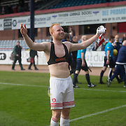 Hamilton&rsquo;s Ziggy Gordon celebrates after his side guaranteed staying up - Dundee v Hamilton Academical, Ladbrokes Scottish Premiership at Dens Park<br /> <br /> <br />  - &copy; David Young - www.davidyoungphoto.co.uk - email: davidyoungphoto@gmail.com
