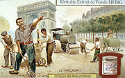 Laying a Macadam road surface and compacting with a steam road roller, Paris street. Workmen are wearing wooden shoes (sabots). Liebig trade card c1900. Chromolithograph