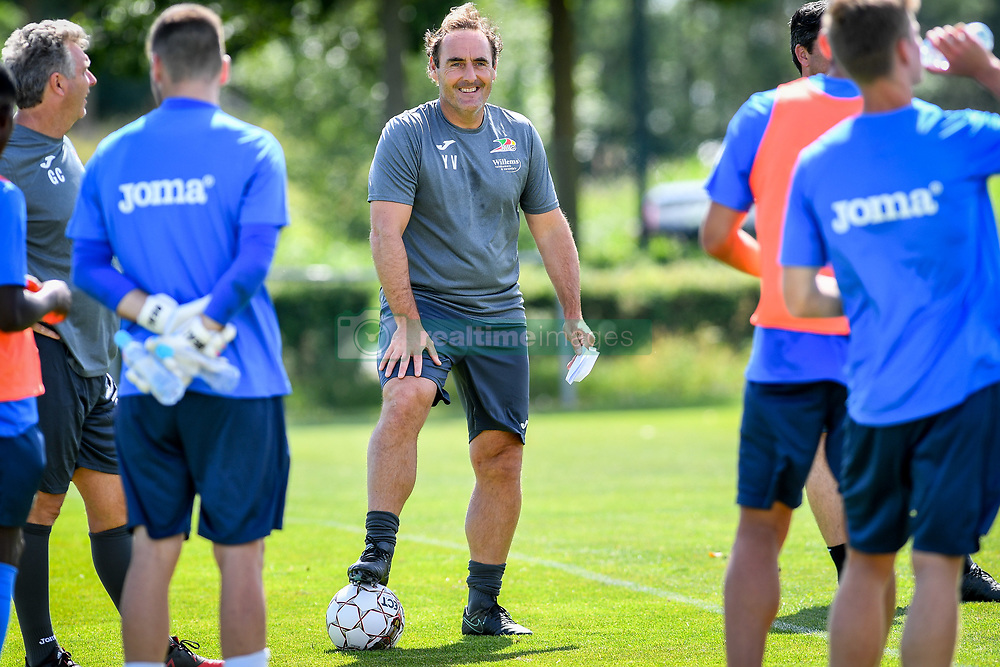 June 23, 2017 - Oostende, BELGIUM - Oostende's head coach Yves Vanderhaeghe talks to his players during the first training session for the new 2017-2018 season of Jupiler Pro League team KV Oostende, Friday 23 June 2017 in Oostende. BELGA PHOTO LUC CLAESSEN (Credit Image: © Luc Claessen/Belga via ZUMA Press)