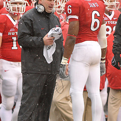 Dec 5, 2009; Piscataway, NJ, USA; Rutgers wide receiver Mohamed Sanu (6) is coached by Greg Schiano during second half NCAA Big East college football action in West Virginia's 24-21 victory over Rutgers at Rutgers Stadium.