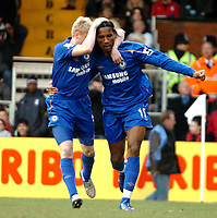 Photo: Ed Godden.<br /> Fulham v Chelsea. The Barclays Premiership. 19/03/2006.<br /> Didier Drogba (R) celebrates his goal. Later to be not allowed.