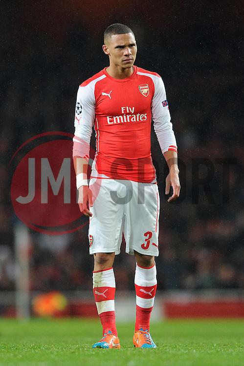 Arsenal's Kieran Gibbs cuts a dejected figure as Anderlecht's Aleksandar Mitrovic scores to make it 3 - 3 - Photo mandatory by-line: Dougie Allward/JMP - Mobile: 07966 386802 - 04/11/2014 - SPORT - Football - London - Emirates Stadium - Arsenal v RSC Anderlecht - Champions League - Group D