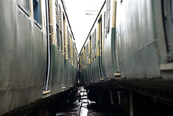 July 19, 2017 - Kolkata, West Bengal, India - Train derail as it hit the platform buffer at Sealdha Station. The down Sonarpur-Sealdah Local train hit the guard wall of a platform at Sealdha Station on July 19, 2017 in Kolkata, India. Twenty one passenger were injured after this an Electric Multiple Unit local train hit the buffer of platform at the Sealdah Station. (Credit Image: © Saikat Paul/Pacific Press via ZUMA Wire)