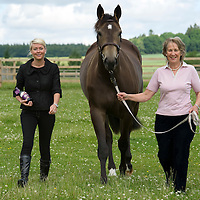 FREE TO USE PHOTOGRAPH....Famous Grouse Sponsor Perth Show.....<br /> Beth McMillan (left) Marketing Manager at The Famous Grouse Experience pictured with Mrs Hazel England and her horse Secret Solitair a 3 year old filly that will be competing at this years Perth Show.<br /> Picture by Graeme Hart.<br /> Copyright Perthshire Picture Agency<br /> Tel: 01738 623350  Mobile: 07990 594431