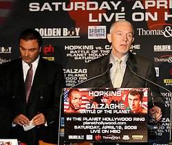 February 19, 2008; Newark, NJ, USA;  Ring Magazine Editor in Chief Nigel Collins speaks at the press conference announcing the April 19, 2008 fight between Ring Magazine Light Heavyweight Champion Bernard Hopkins and Ring Magazine Super Middleweight Champion Joe Calzaghe.  The two will meet at the Thomas & Mack Center in Las Vegas, NV.