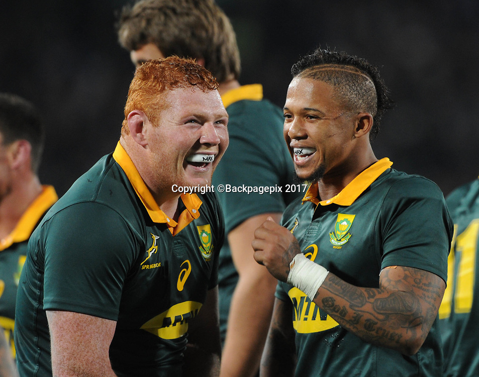 Steven Kitshoff of South Africa and Elton Jantjies of South Africa  during the 2017 International Incoming Series rugby match between SA and France on 24 June 2017 at Ellis Park Stadium   © Sydney Mahlangu /BackpagePix