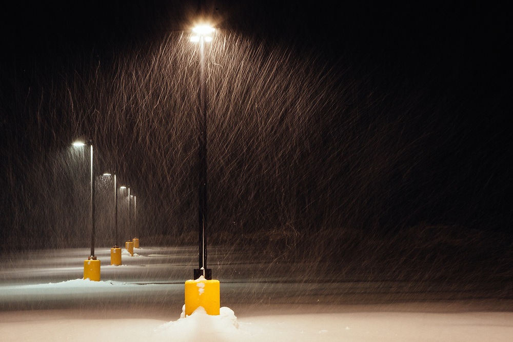 Dumping snow in a parking lot near the town of Jackson, Wyoming.