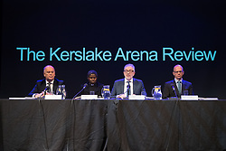 © Licensed to London News Pictures. 27/03/2018. Salford, UK. Panel: ALAN GOODWIN, VENERABLE KAREN LUND, BOB KERSLAKE and HUGH DEEMING The Kerslake Report in to the terrorist bombing of an Ariana Grande concert at the Manchester Arena on 22nd May 2017 , ordered by Greater Manchester Metro Mayor Andy Burnham , is published at a press conference at the University of Salford , at Media City . Amongst praise for many connected with the events, the report also highlights failings in communication at Greater Manchester Fire and Rescue on the night and disreputable behaviour by some sections of the media in the aftermath of the attack . Photo credit: Joel Goodman/LNP