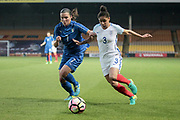 Demi Stokes (England) (Manchester City) and Alia Guagni (Italy) (Darl Fiorentina) during the Women's International Friendly match between England Ladies and Italy Women at Vale Park, Burslem, England on 7 April 2017. Photo by Mark P Doherty.
