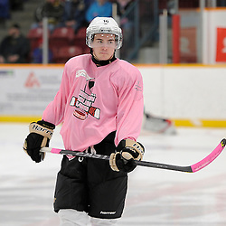 TRENTON, ON - Feb 14 : Ontario Junior Hockey League game action between the Trenton Golden Hawks and the Wellington Dukes, Dylan Savory #16 of the Trenton Golden Hawks Hockey Club<br /> (Photo by Amy Deroche / OJHL Images)