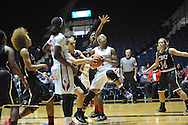 "Ole Miss' Toree Thompson (1) is fouled by Christian Brothers' Emily Reeves (4) in an exhibition basketball game at the C.M. ""Tad"" Smith Coliseum in Oxford, Miss. on Friday, November 7, 2014. (AP Photo/Oxford Eagle, Bruce Newman)"