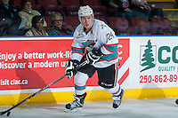 KELOWNA, CANADA - JANUARY 08: Tyson Baillie #24 of Kelowna Rockets skates with the puck against the Everett Silvertips on January 8, 2016 at Prospera Place in Kelowna, British Columbia, Canada.  (Photo by Marissa Baecker/Shoot the Breeze)  *** Local Caption *** Tyson Baillie;