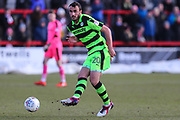 Forest Green Rovers Farrend Rawson(20) passes the ball forward during the EFL Sky Bet League 2 match between Accrington Stanley and Forest Green Rovers at the Wham Stadium, Accrington, England on 17 March 2018. Picture by Shane Healey.