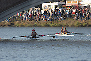 Boston, USA, Championship Women's double,  [right] New York AC. and Potomac BC passing under the  John Weekes Bridge, during  the Head of the Charles, Race Charles River,  Cambridge,  Massachusetts. Saturday  20/10/2007 [Mandatory Credit Peter Spurrier/Intersport Images]..... , Rowing Course; Charles River. Boston. USA