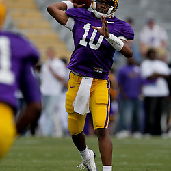 18 April 2009: LSU Tigers quarterback Russell Shepard (10) throws a pass during the 2009 LSU spring football game at Tiger Stadium in Baton Rouge, LA.