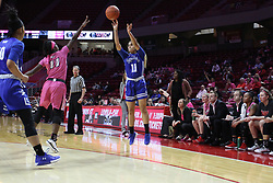 NORMAL, IL - February 10: Krystal Rice shoots the 3 over Te Te Maggett during a college women's basketball Play4Kay game between the ISU Redbirds and the Indiana State Sycamores on February 10 2019 at Redbird Arena in Normal, IL. (Photo by Alan Look)