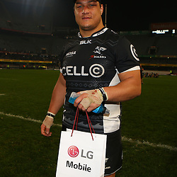 DURBAN, SOUTH AFRICA - JULY 15: Man of the match Coenie Oosthuizenof the Cell C Sharks during the Super Rugby match between the Cell C Sharks and Sunwolves at Growthpoint Kings Park on July 15, 2016 in Durban, South Africa. (Photo by Steve Haag/Gallo Images)