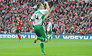 Liam King celebrates his goal during the FA Carlsberg Trophy Final match between North Ferriby United and Wrexham FC at Eon Visual Media Stadium, North Ferriby, United Kingdom on 29 March 2015. Photo by Michael Hulf.