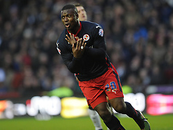 Readings Yakubu Celebrates after Scoring Readings Second Goal at Derby, Derby County v Reading, FA Cup 5th Round, The Ipro Stadium, Saturday 14th Febuary 2015