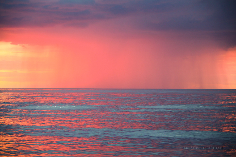 cloudburst, sunset, lake superior