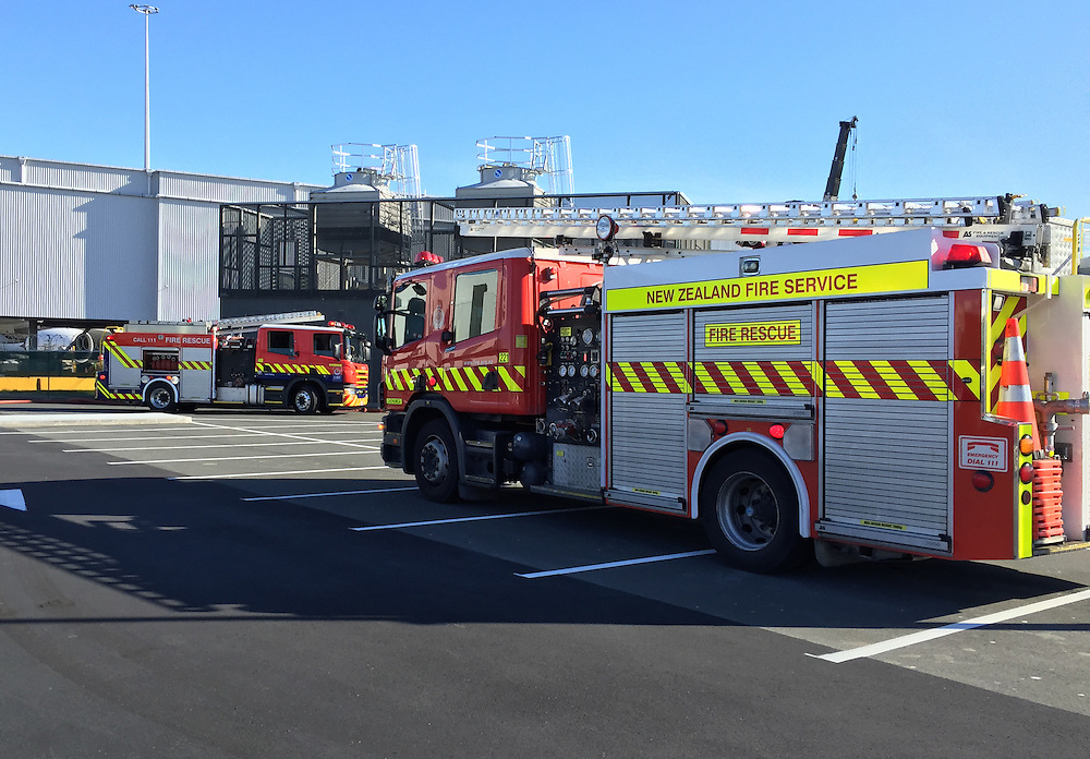 Fire services responded to a 2nd alarm callout to construction work at the International Airport Terminal, Mangere, Auckland, New Zealand, Thursday, August 13, 2015. Credit:SNPA / Daniel HInes