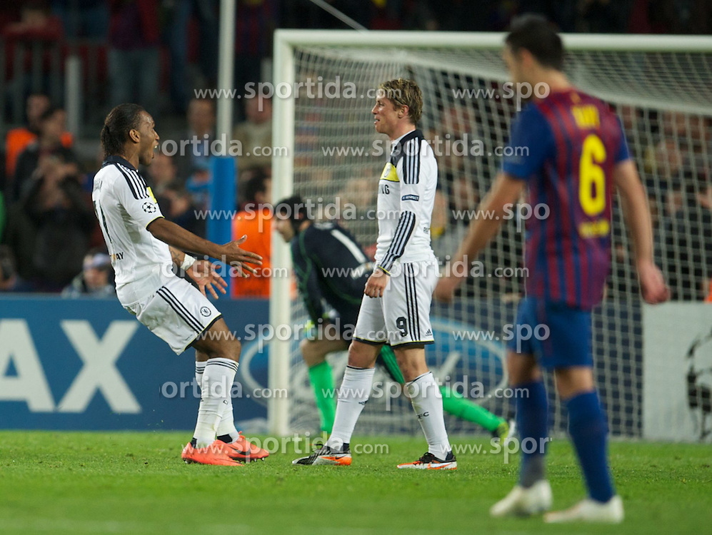 24.04.2012, Stadion Camp Nou, Barcelona, ESP, UEFA CL, Halblfinal-Rueckspiel, FC Barcelona (ESP) vs FC Chelsea (ENG), im Bild Chelsea's Didier Drogba runs onto the pitch at the final whistle to celebrate with Fernando Torres after their side's 3-2 victory over FC Barcelona after the UEFA Championsleague Halffinal 2st Leg Match, between FC Barcelona (ESP) and FC Chelsea (ENG), at the Camp Nou Stadium, Barcelona, Spain on 2012/04/24. EXPA Pictures © 2012, PhotoCredit: EXPA/ Propagandaphoto/ David Rawcliff..***** ATTENTION - OUT OF ENG, GBR, UK *****