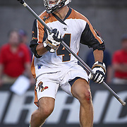 John Locascio #4 of the Rochester Rattlers controls the ball during the game at Harvard Stadium on August 9, 2014 in Boston, Massachusetts. (Photo by Elan Kawesch)