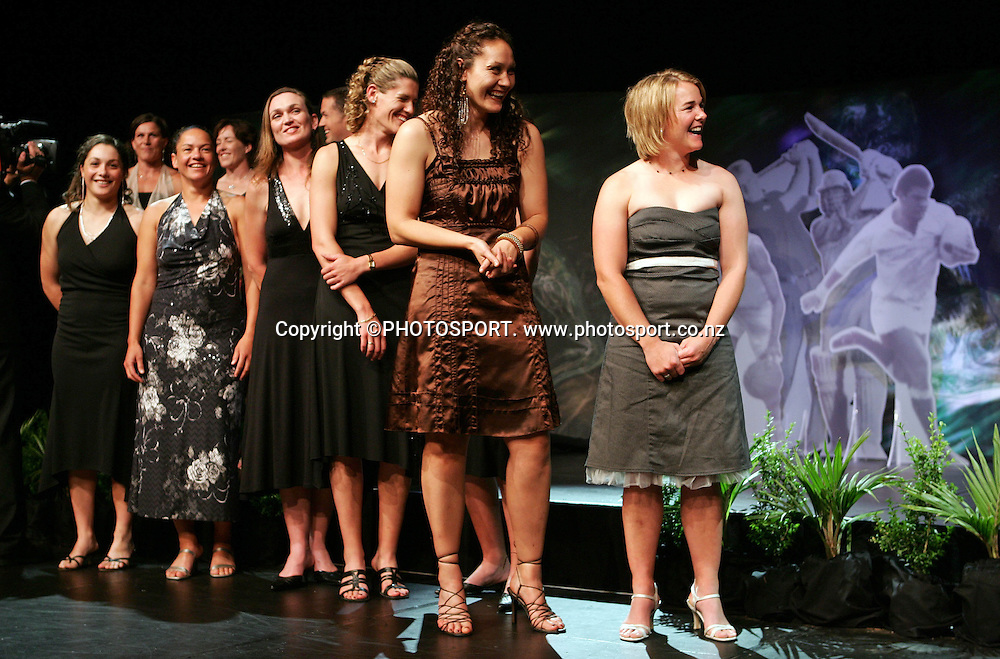 The Black Ferns accept their award for Team of the Year at the KIA Motors Peoples Choice Awards held at SkyCity Grand Hotel in Auckland, New Zealand on Friday, 8 December 2006. Photo: Renee McKay/PHOTOSPORT<br />