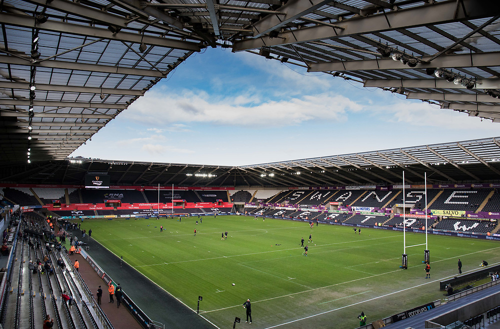 A general view of Liberty Stadium, home of Ospreys<br /> <br /> Photographer Simon King/Replay Images<br /> <br /> Guinness PRO14 Round 13 - Ospreys v Cardiff Blues - Saturday 6th January 2018 - Liberty Stadium - Swansea<br /> <br /> World Copyright © Replay Images . All rights reserved. info@replayimages.co.uk - http://replayimages.co.uk