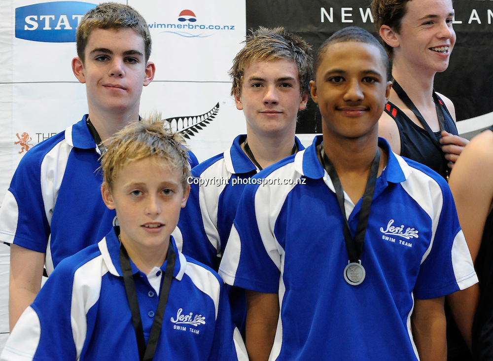 Jasi swim club members,  at the State New Zealand Division II Swimming Champs, at Moana pool, Dunedin, New Zealand. Thursday 12 April 2012. Photo: Richard Hood photosport.co.nz