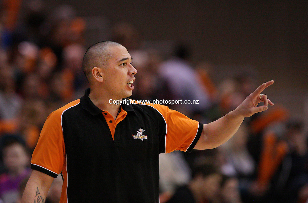Paul Henare coach of the Sharks in the NBL national basketball league, Zero Fees Southland Sharks v Telecom Business Hub Manawatu Jets, Stadium Southland Velodrome, Invercargill, New Zealand, Friday, June 07, 2013. Photo: Dianne Manson / photosport.co.nz