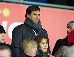 CARDIFF, WALES - Tuesday, February 11, 2014: Wales manager Chris Coleman watches Cardiff City take on Aston Villa during the Premiership match at the Cardiff City Stadium. (Pic by David Rawcliffe/Propaganda)