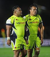 Rugby Union - 2017 / 2018 Aviva Premiership - Harlequins vs. Sale Sharks<br /> <br /> Halani Auilka (left) and T J Ioane of Sale Sharks at The Stoop.<br /> <br /> COLORSPORT/ANDREW COWIE