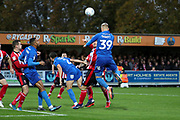 AFC Wimbledon striker Joe Pigott (39) about to head the ball during the EFL Sky Bet League 1 match between AFC Wimbledon and Lincoln City at the Cherry Red Records Stadium, Kingston, England on 2 November 2019.