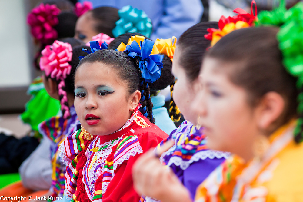 14 FEBRUARY 2012 - PHOENIX, AZ:   Members of Ballet Folklorico Esperanza wait to perform at the State Capitol in Phoenix, Feb 14. Arizona's statehood day is February 14 and this year Arizona marked 100 years of statehood. It was the last state in the 48 contiguous United States.   PHOTO BY JACK KURTZ