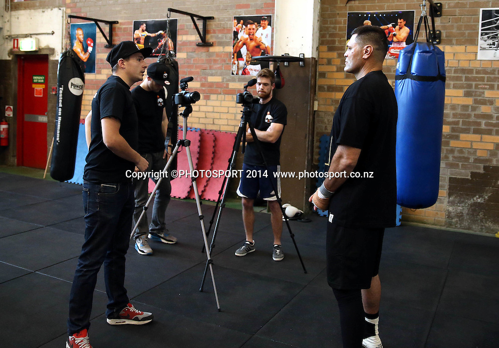 Kali Meehan interviewed<br /> Super 8 Boxing - Meehan and Leapai Open Sparring Session, 7 October 2014. All Sorts Gym, Alexandria, Sydney Australia. Tuesday 7 October 2014. Photo: Paul Seiser/Photosport.co.nz