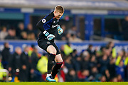 Everton goalkeeper Jordan Pickford (1) celebrates Everton striker Wayne Rooney (10) penalty to make the score 3-1  during the Premier League match between Everton and Swansea City at Goodison Park, Liverpool, England on 18 December 2017. Photo by Simon Davies.