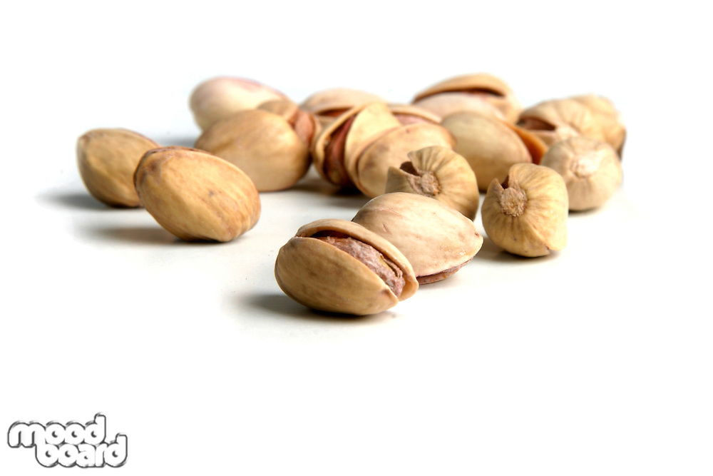 Pistachios on white background
