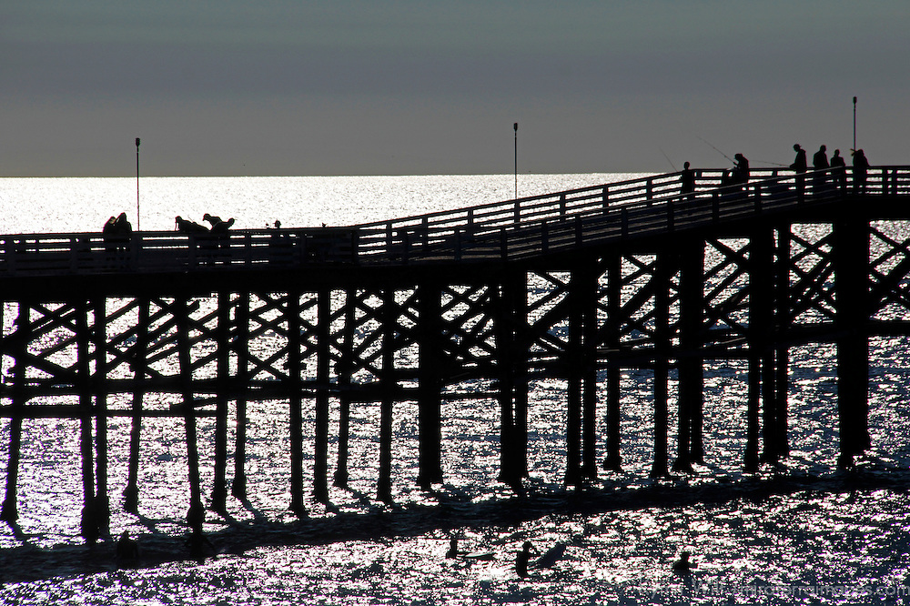 USA, California, San Diego. Crystal Pier, Pacific Beach.
