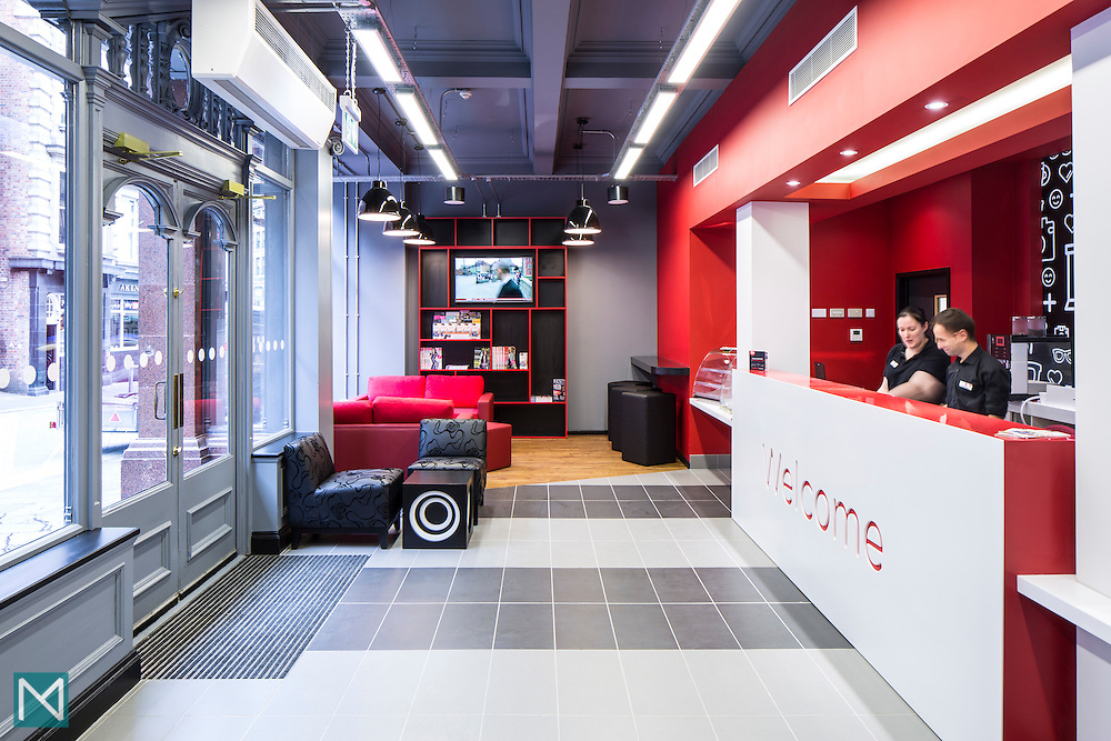 Reception area at Tune Hotel Newcastle, for Tune Hotels UK