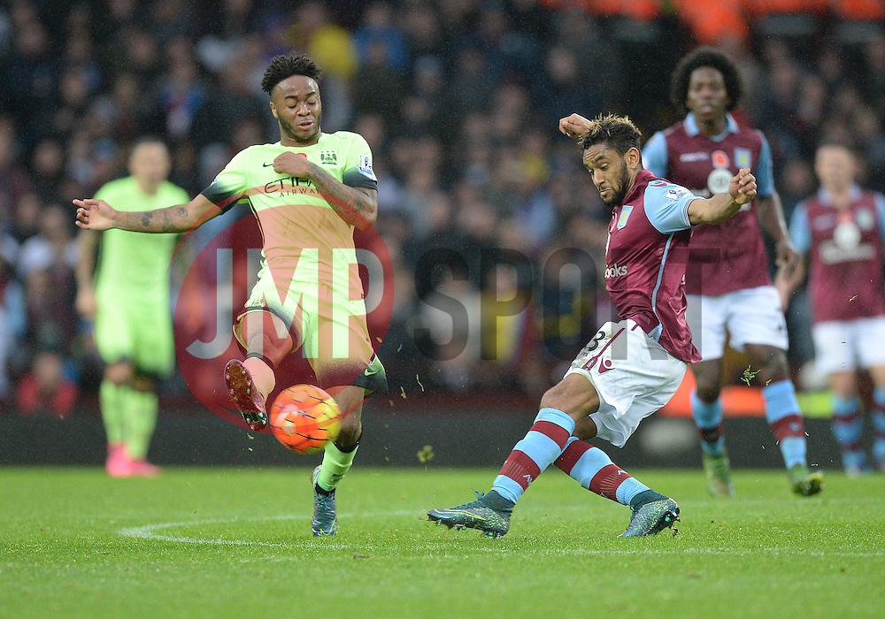 Raheem Sterling of Manchester City closes down Jordan Amavi of Aston Villa - Mandatory byline: Alex James/JMP - 07966 386802 - 08/11/2015 - FOOTBALL - Villa Park - Birmingham, England - Aston Villa v Manchester City - Barclays Premier League