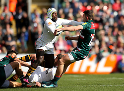 Christian Wade of Wasps barges his way through Jonny May of Leicester Tigers - Mandatory by-line: Robbie Stephenson/JMP - 25/03/2018 - RUGBY - Welford Road Stadium - Leicester, England - Leicester Tigers v Wasps - Aviva Premiership
