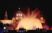 Mountjuich Fountains at night, Barcelona, Spain.