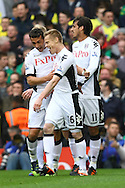 Picture by Paul Chesterton/Focus Images Ltd.  07904 640267.31/03/12.Damien Duff of Fulham scores his sides 2nd goal and celebrates during the Barclays Premier League match at Craven Cottage stadium, London.